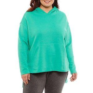1X Jade Green Long Sleeve Knit Hoodie NWT